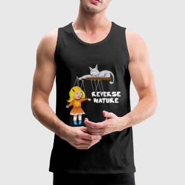 Slave Female Cat plays with a female slave as a puppet - Men's Premium Tank Top