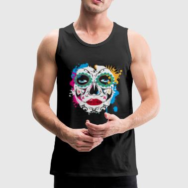 Sugar Skull Makeup Graffiti - Men's Premium Tank Top