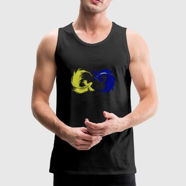 Chinese Symbols Colorful fish. Chinese symbol for wealth - Men's Premium Tank Top