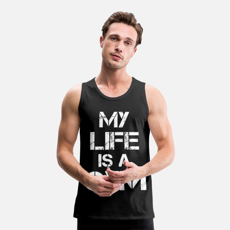 Biceps Tank Tops - My life is a gym - Men's Premium Tank Top black