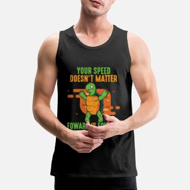 Slow Positive message forward turtle - Men's Premium Tank Top