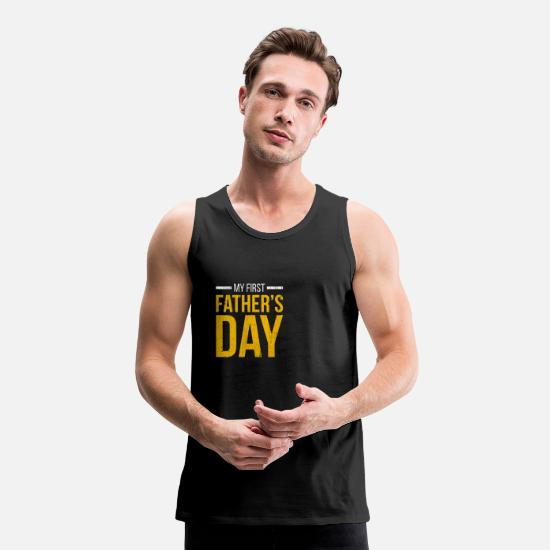 Aesthetic Tank Tops - My first father's day - Men's Premium Tank Top black
