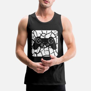 Scratch tears scratches button controller play logo design - Men's Premium Tank Top