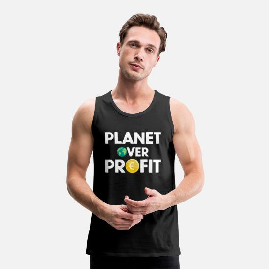 Over Tank Tops - PLANET OVER PROFIT - Men's Premium Tank Top black
