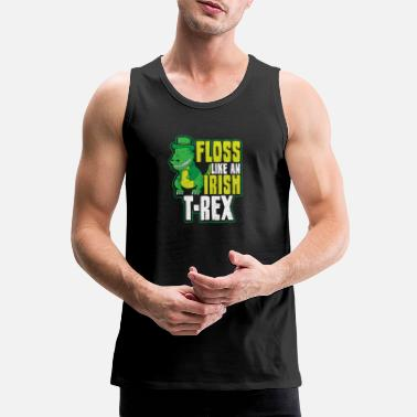 Crying Flossing Leprechaun Floss Like A T-Rex Gift - Men's Premium Tank Top
