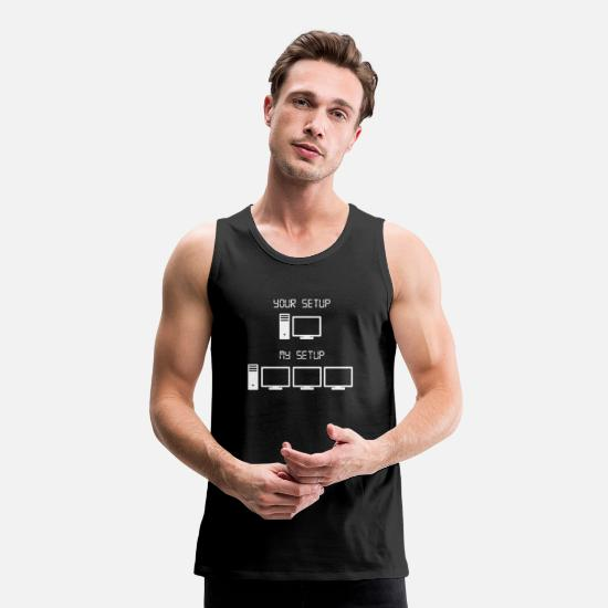 Gift Idea Tank Tops - Gaming setup nerd gamble game games geek gift - Men's Premium Tank Top black
