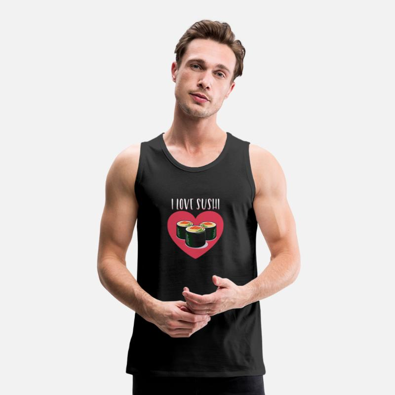 Menu Tank Tops - I Love Sushi - Men's Premium Tank Top black