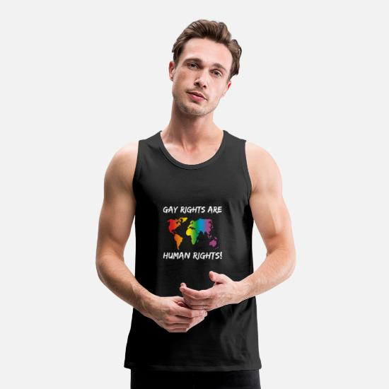 Colorful Tank Tops - LGBT Gay Rights Are Human Rights - Men's Premium Tank Top black