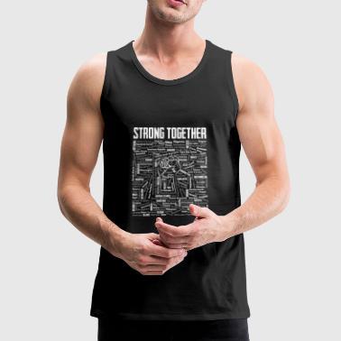 Strong Together Fist with 196 States of the World - Men's Premium Tank Top