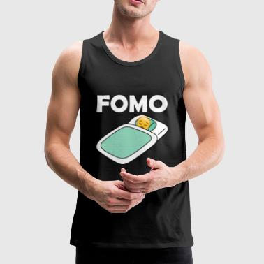 Fomo Sad Emoji In Bed Fear Of Missing Out Graphic - Men's Premium Tank Top