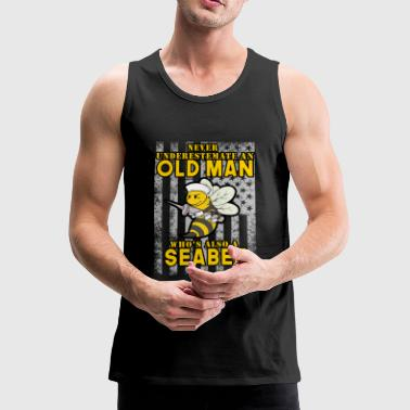 Old man sailor USA US bee Navy seal sea - Herre Premium tanktop