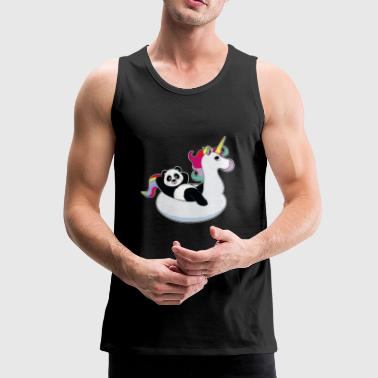 Panda su unicorn air mat kawaii estate fresca - Canotta premium da uomo