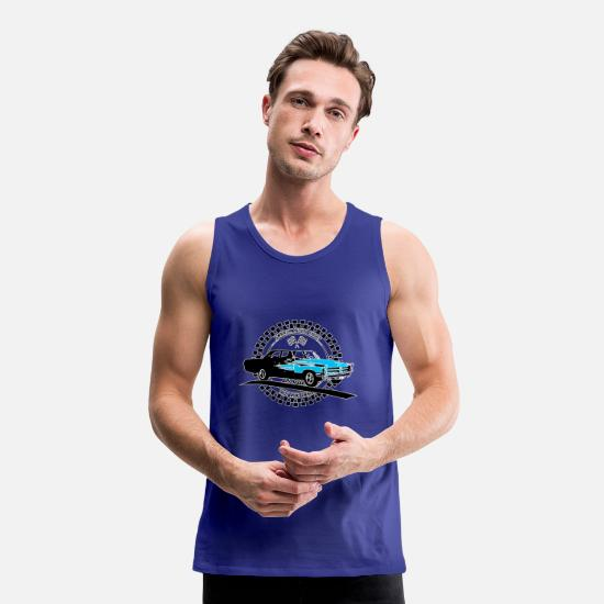 V8 Tank Tops - Retro muscle car in black - Men's Premium Tank Top royal blue