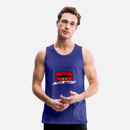 V8 Tank Tops - Muscle Car in Red Patch - Men's Premium Tank Top royal blue