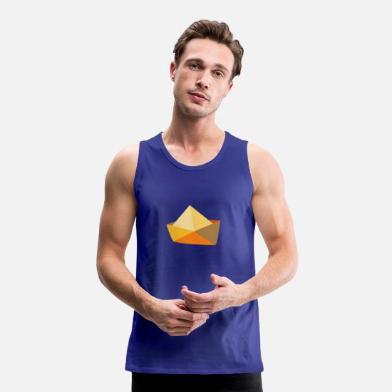 Travel Tank Tops - Illustration of yellow paper boat - Men's Premium Tank Top royal blue