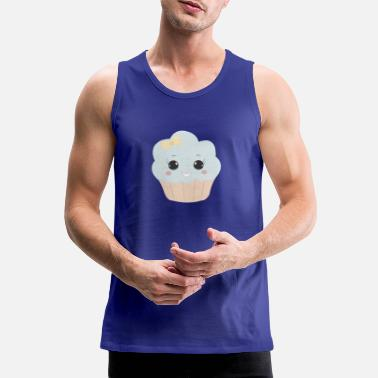 Beady Eyes Cute muffin with ribbon button eyes gift - Men's Premium Tank Top