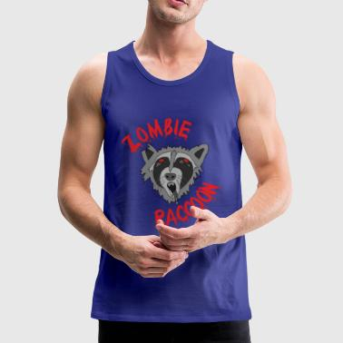 Funny cute scary zombie raccoon Red Edit - Men's Premium Tank Top