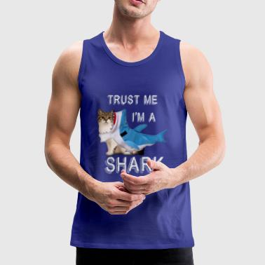 Trust Me I'm A Shark Grappige Cat In Costume Graphic - Mannen Premium tank top