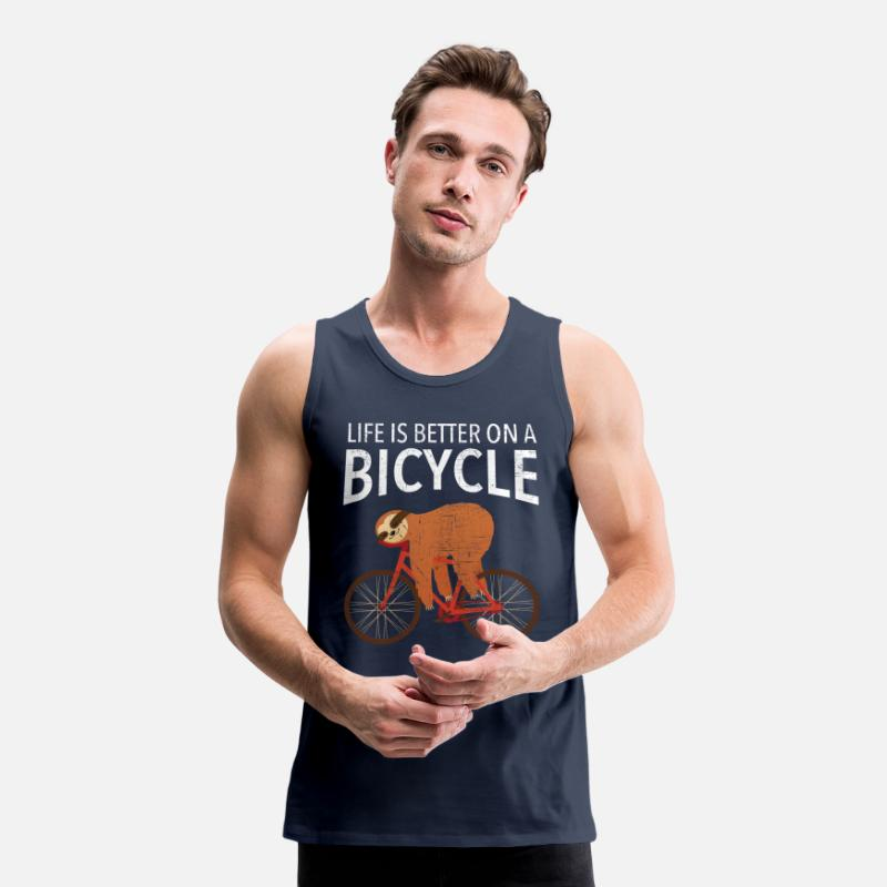 Rower Tank topy - Life Is Better On A Bicycle - Premium tank top męski granatowy