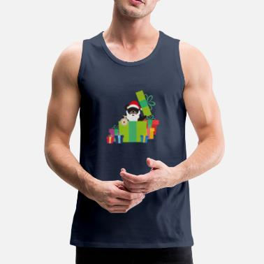 Grizzly Santa with Tree and Presents - Men's Premium Tank Top