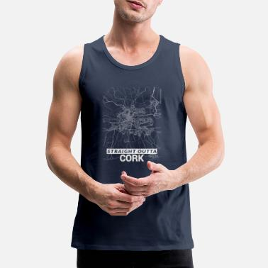 Cork City Straight Outta Cork city map and streets - Men's Premium Tank Top