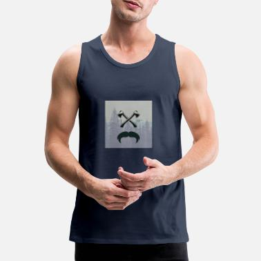 Glass Underwear Hipster responsibility beard glasses ax forest - Men's Premium Tank Top