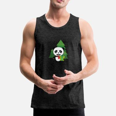 Christmas Panda in Forest with Present - Men's Premium Tank Top