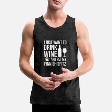 Parents I want to drink wine and pet Finnish Spitz Dog - Men's Premium Tank Top