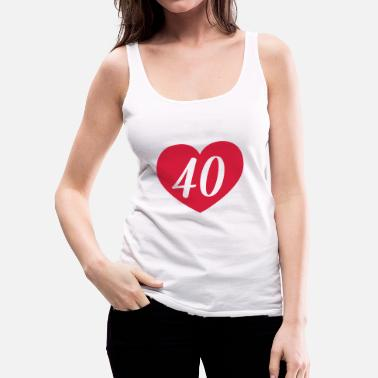 40th Birthday 40th birthday heart T-Shirts - Women's Premium Tank Top