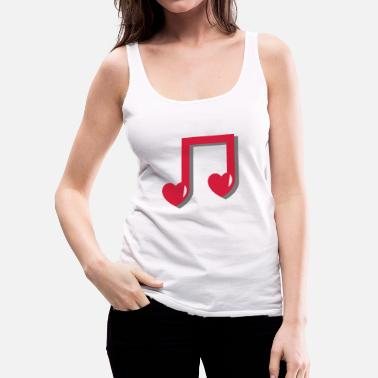 Music Note Musical note with heart - music, notes, note, red - Women's Premium Tank Top