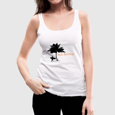 Bali Surfing surfer with palm stencil / silhouette - Women's Premium Tank Top