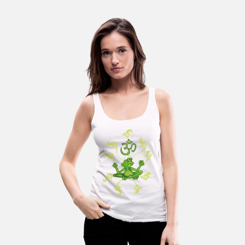 Bestsellers Q4 2018 Tank Tops - The frog sings the OM at his Yoga-Lesson - Women's Premium Tank Top white
