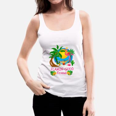 Tropical Cute Tropical Flamingo Hawaiian Design Sister Gift - Women's Premium Tank Top