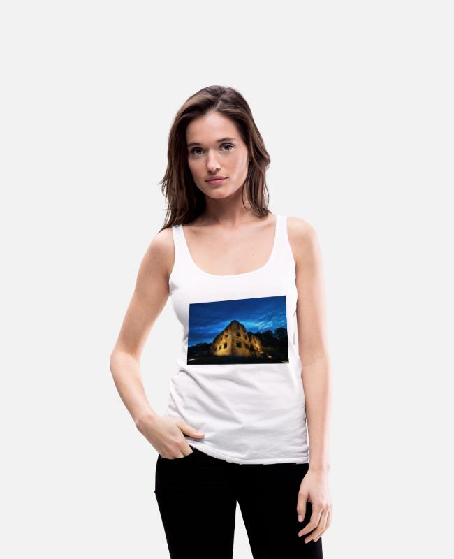 Rhineland-Palatinate Tank Tops - Castle ruin Landskrone Oppenheim at the blue hour - Women's Premium Tank Top white