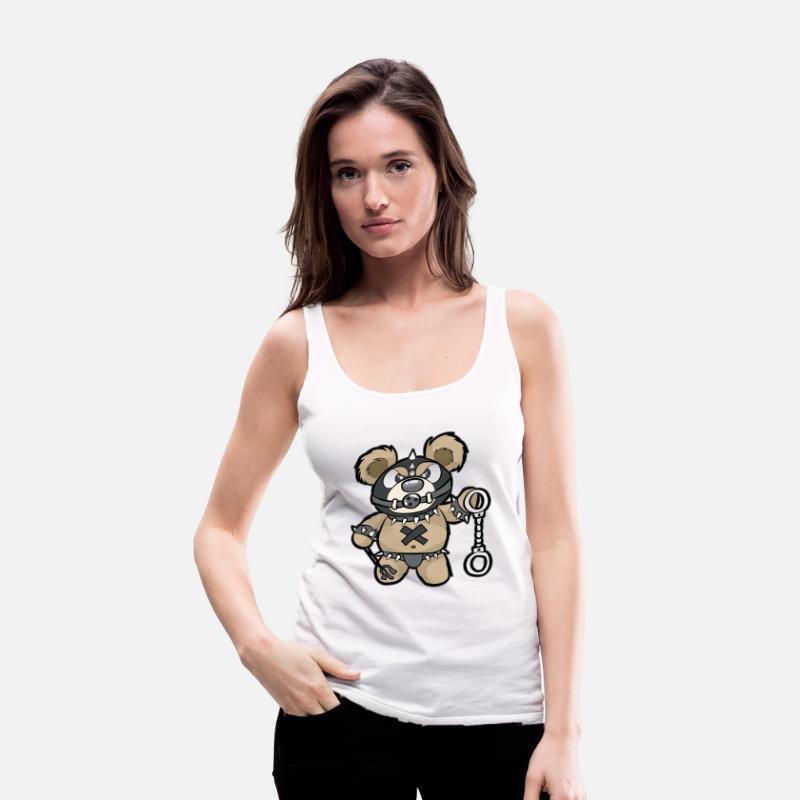 Naughty Teddy Bear Gag Petite Handcuffs Womens Premium Tank Top