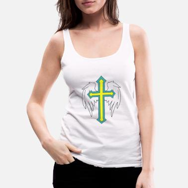 Drawing Angel wings with cross drawing - Women's Premium Tank Top