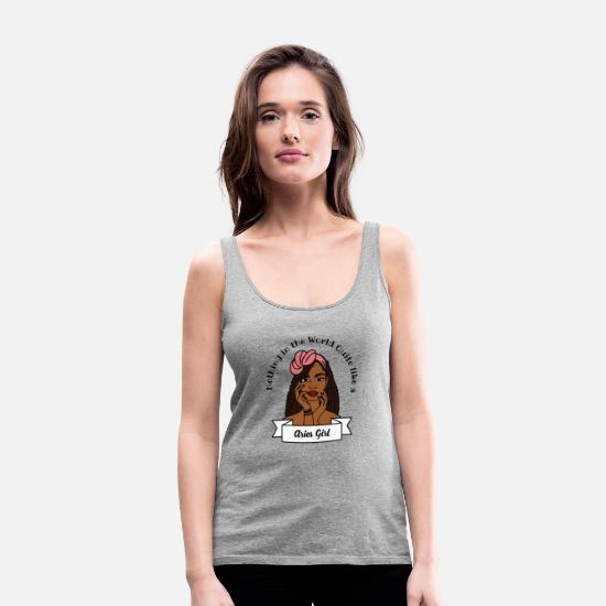 New World Order Tank Tops - Aries Girl Design No. 12 - Women's Premium Tank Top heather grey