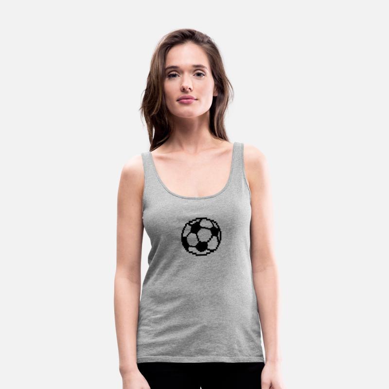 Foot Pixel Ballon Football Soccer Débardeur Premium Femme Gris Chiné