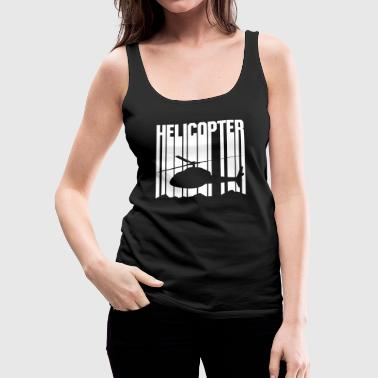 Helicopter Silhouette Retro Vintage Font - Frauen Premium Tank Top
