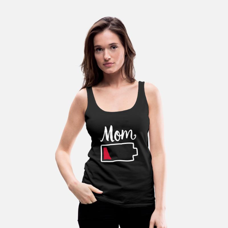 Baby Tank Tops - Tired Mom | Low Battery Symbol - Women's Premium Tank Top black