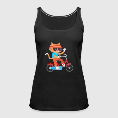 CAT ON BICYCLE FUNNY GIFT KIDS IDEA - Women's Premium Tank Top