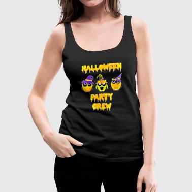 Yellow Halloween party crew owls yellow orange - Women's Premium Tank Top
