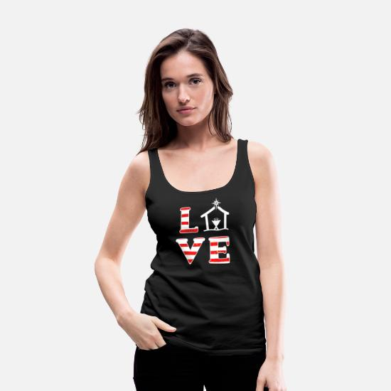 Happy Holidays Tank Tops - Christian Christmas Quote Love Jesus Birth Manger - Women's Premium Tank Top black