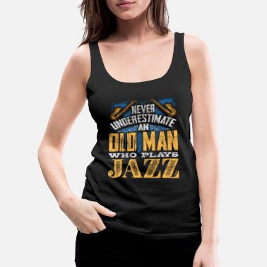 Instrument The old man plays jazz music - Women's Premium Tank Top