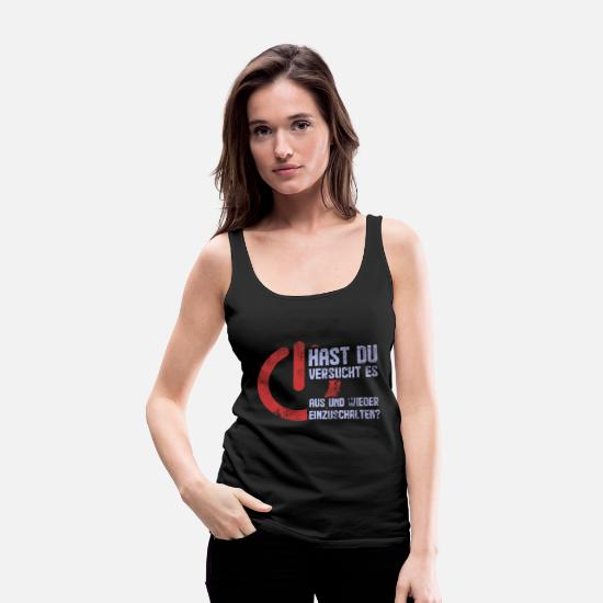 Gift Idea Tank Tops - Off And Turn On Computer Scientist Nerd - Women's Premium Tank Top black