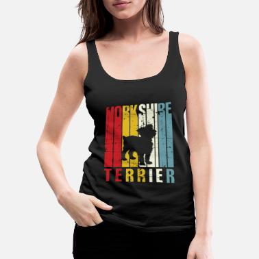 Senior Retro Yorkie Yorkshire Terrier Owner Gift Idea 70s - Women's Premium Tank Top