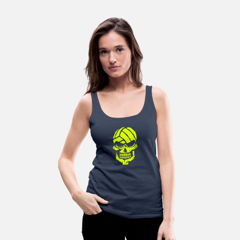 Volleyball Tank Tops - Volleyball skull water polo logo 3 - Women's Premium Tank Top navy