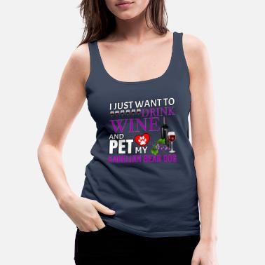 I Just Want To Drink Wine And Pet My Karelian - Women's Premium Tank Top