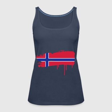 Norwegian flag painted with a brush stroke  - Women's Premium Tank Top