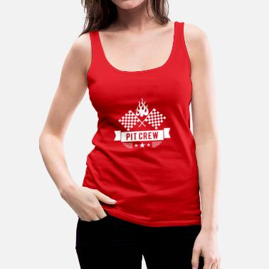 Checkered-flag Pit Crew -fire checkered flag  - Women's Premium Tank Top